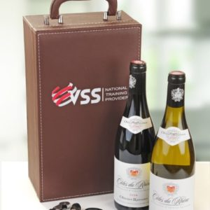 Double Leather Wine Box With Company Logo