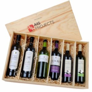 6 Bottle Wooden Wine Gift Box With Company Logo